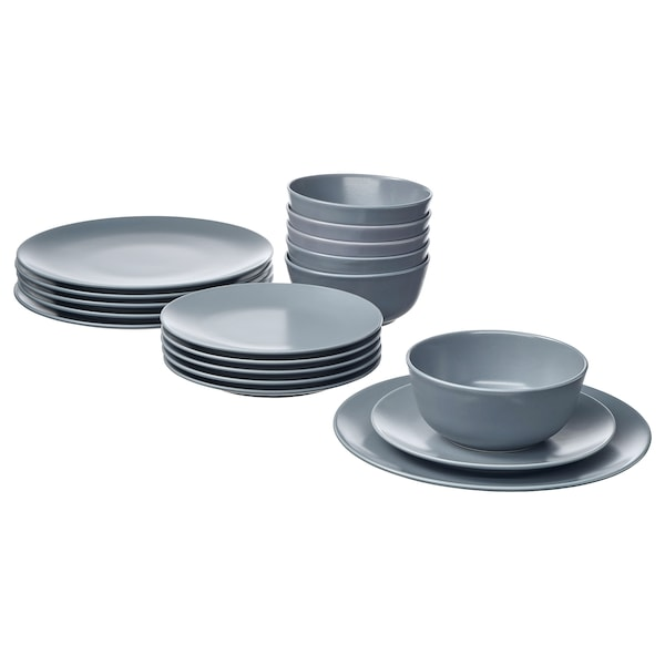DINERA 18-piece dinnerware set, gray-blue