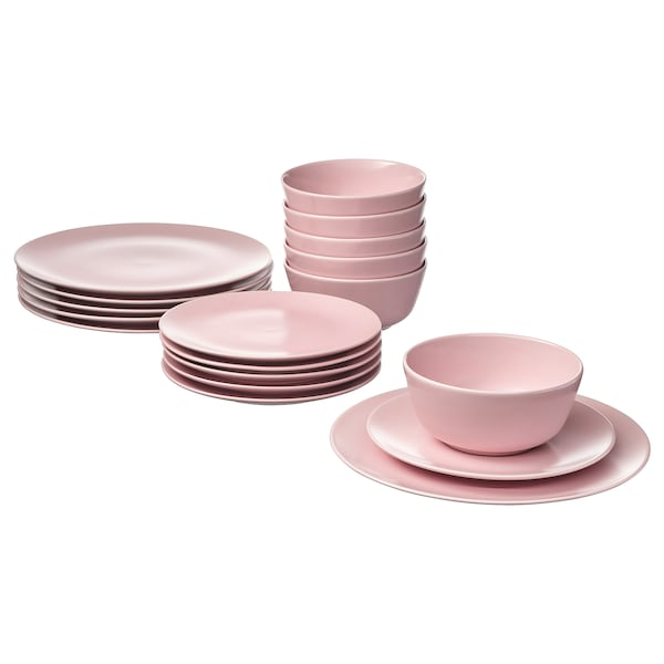 DINERA 18-piece dinnerware set, light pink