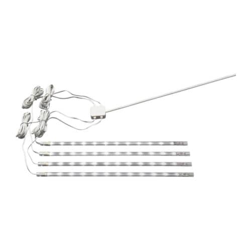 DIODER LED 4-piece light strip set IKEA Can be connected together (up to 4 pieces) in a straight line or L-shape.