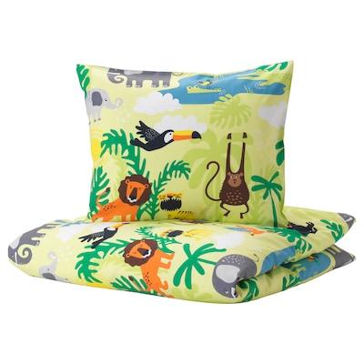 DJUNGELSKOG Duvet cover and pillowcase(s), animal/green, Twin