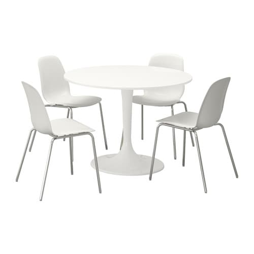 Beautiful White Round Kitchen Table And Chairs: DOCKSTA / LEIFARNE Table And 4 Chairs