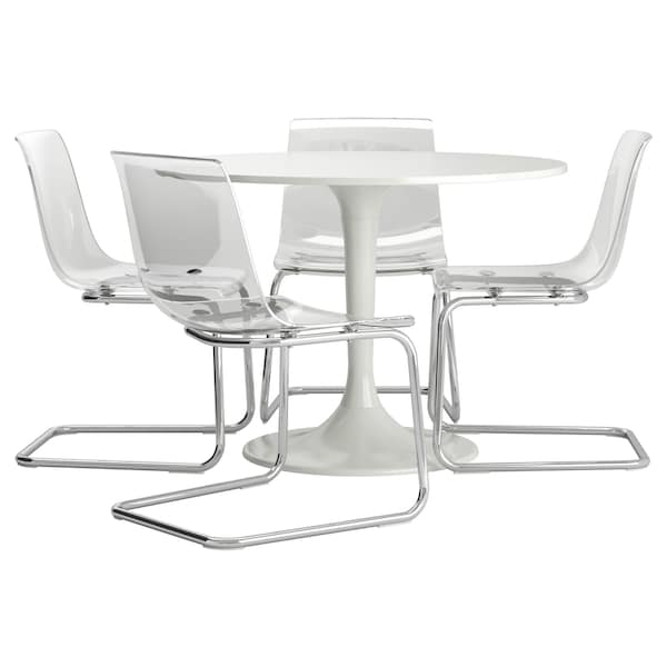 Table And 4 Chairs Docksta Tobias White Clear