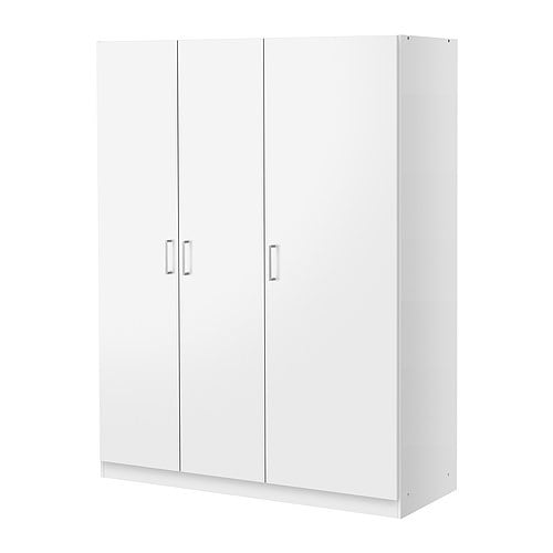 DOMBÅS Wardrobe IKEA Adjustable shelves and clothes rail.   .  Adjustable hinges ensure that the doors hang straight.