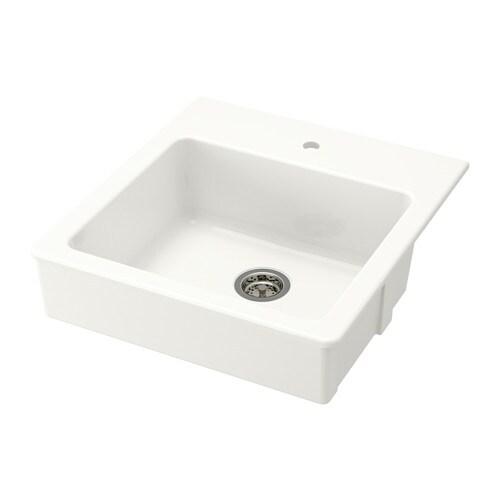 DOMSJÖ Single bowl apron front sink, white