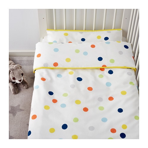 NEW Ikea Crib duvet quilt cover 2 pc set kids baby BARNSLIG DANS multicolor