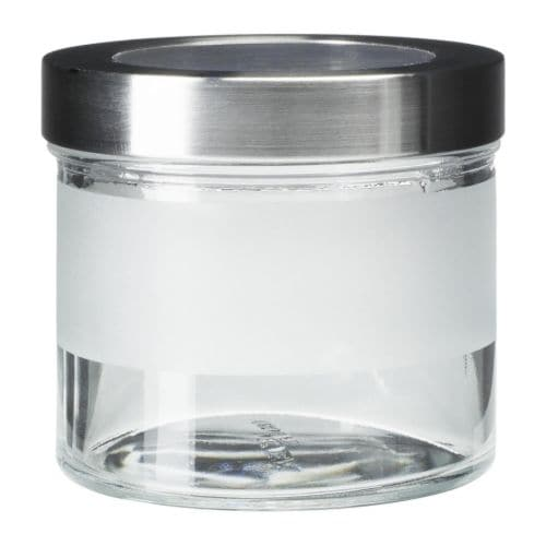 DROPPAR Jar with lid, frosted glass, stainless steel