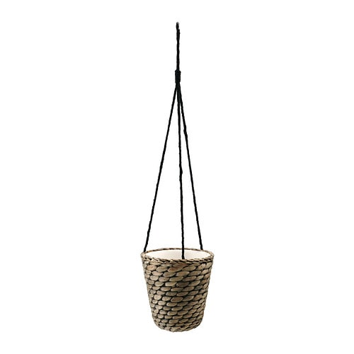 DRUVFLÄDER Hanging planter IKEA Handmade by a skilled craftsperson.  A plastic inner pot makes the plant pot waterproof.