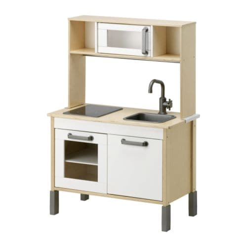 DUKTIG Play kitchen , birch plywood, white Width: 28 3/8