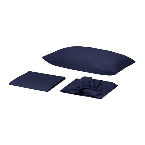 "DVALA Sheet set IKEA Fitted sheet with elastic corners.   Fits mattresses up to 10"" thick."