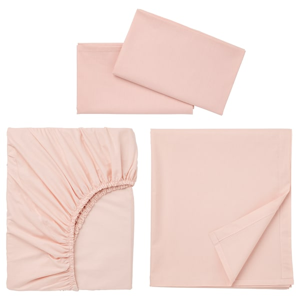 "DVALA sheet set light pink 152 /inch² 60 "" 80 "" 2 pack 20 "" 30 "" 94 "" 102 "" 10 """