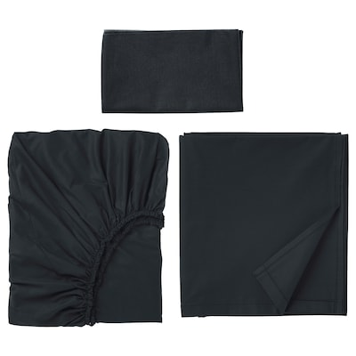 "DVALA sheet set black 152 /inch² 38 "" 74 "" 1 pack 20 "" 30 "" 66 "" 102 "" 10 """