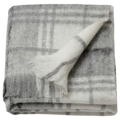 """EBBALOTTA Throw, gray/white/check pattern, 51x67 """""""