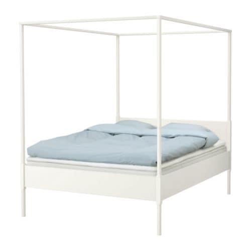 """EDLAND Four-poster bed frame, white Length: 83 1/2 """" Width: 63 3/8 """" Height: 82 5/8 """" Mattress length: 79 1/2 """" Mattress width: 59 7/8 """"  Length: 212 cm Width: 161 cm Height: 210 cm Mattress length: 202 cm Mattress width: 152 cm"""