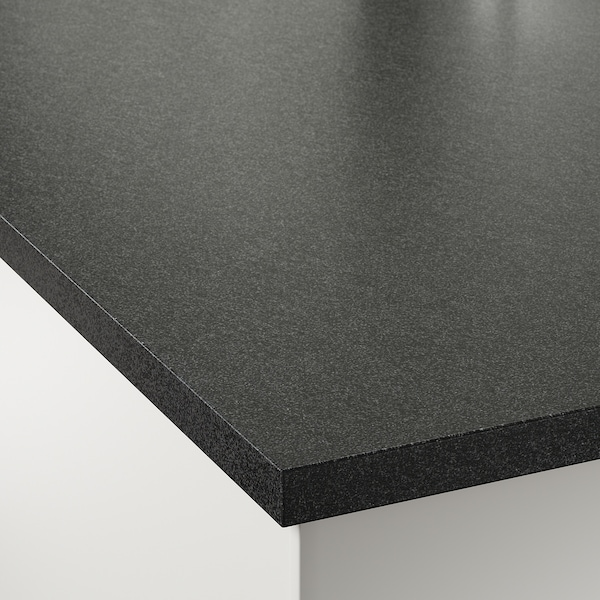 EKBACKEN Countertop, black stone effect/laminate, 74x1 1/8 ""