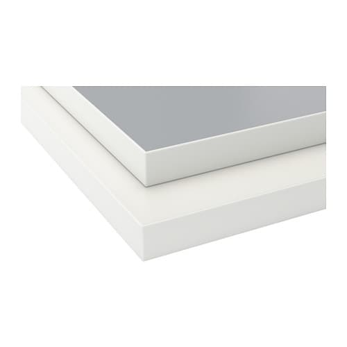 EKBACKEN Countertop, double-sided, light gray, white with white edge light gray/white with white edge 98x1 1/8
