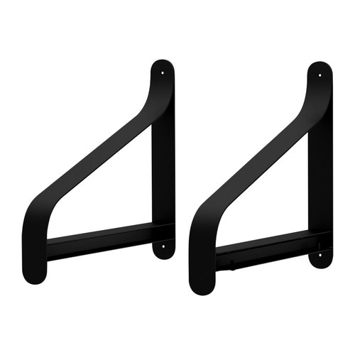 EKBY UTSJÖ Bracket IKEA Adjusts to suit shelves of various thicknesses.  The bracket covers the edge of the shelf.