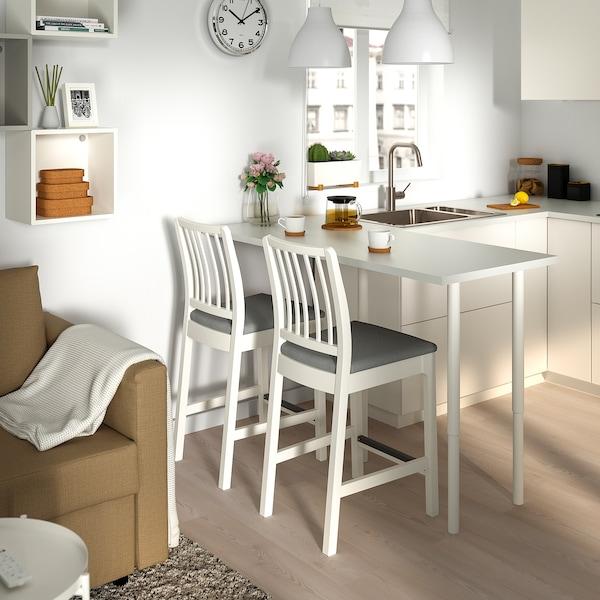 Ekedalen Bar Stool With Backrest White Orrsta Light Gray Width 17 3 4 Shop Today Ikea