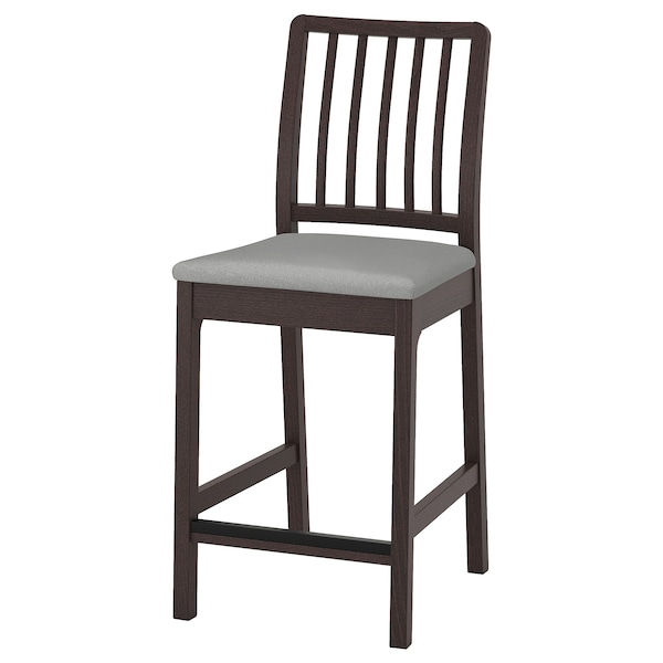 Pleasing Bar Stool With Backrest Ekedalen Dark Brown Orrsta Light Gray Machost Co Dining Chair Design Ideas Machostcouk