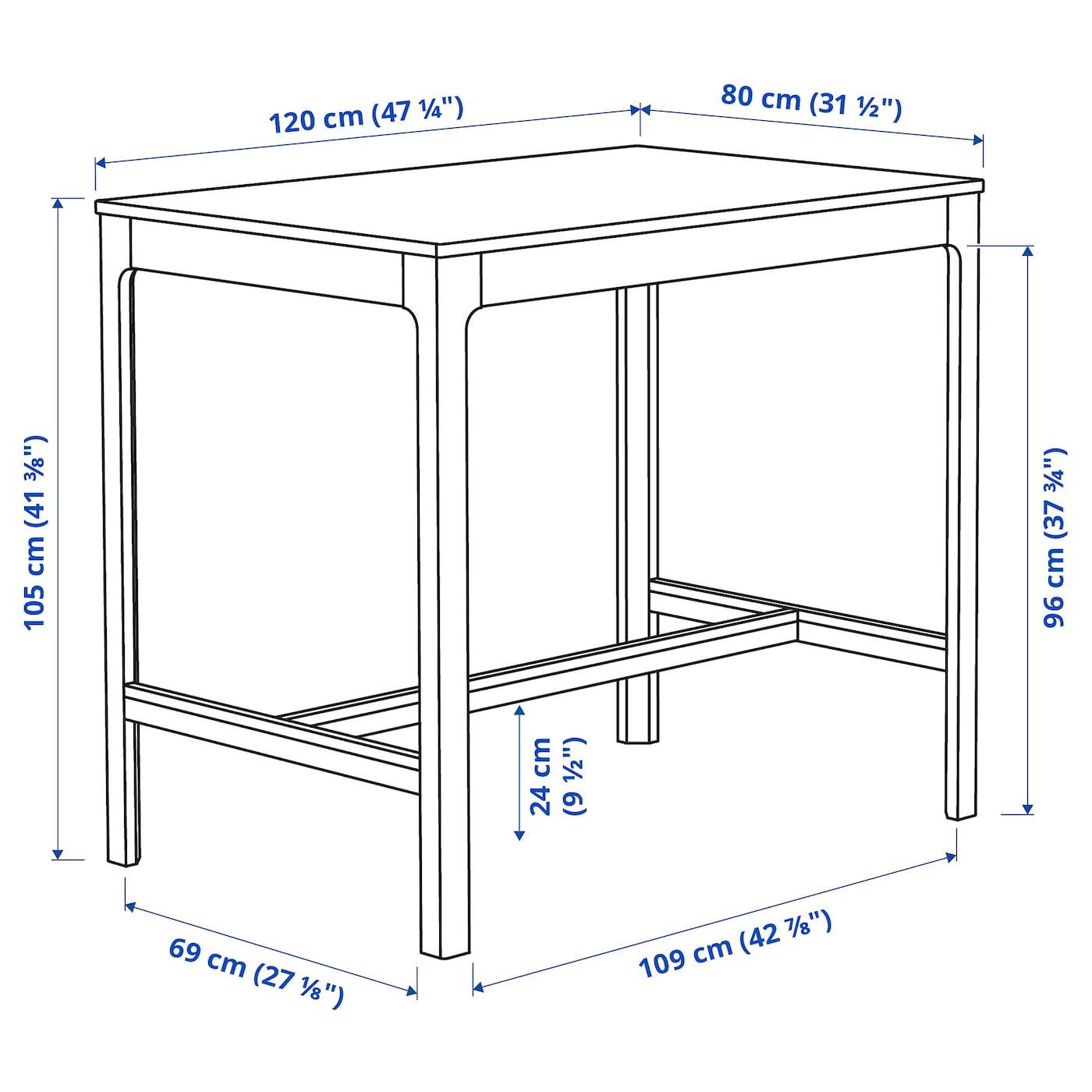 Ekedalen Bar Table White Ikea