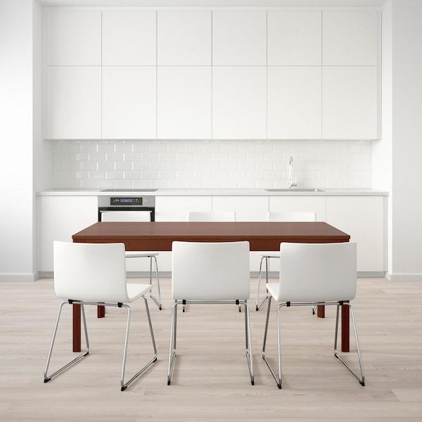 "EKEDALEN / BERNHARD Table and 6 chairs, brown/Mjuk white, 70 7/8/94 1/2 """