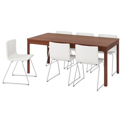 "EKEDALEN / BERNHARD table and 6 chairs brown/Mjuk white 70 7/8 "" 94 1/2 """