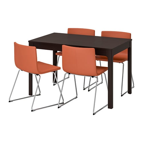 EKEDALEN / BERNHARD Table and 4 chairs, dark brown, Mjuk orange
