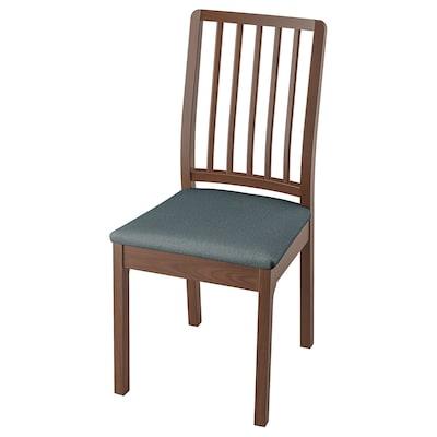 "EKEDALEN chair brown/Idekulla blue 243 lb 16 7/8 "" 20 1/8 "" 37 3/8 "" 16 7/8 "" 16 1/8 "" 18 1/8 """