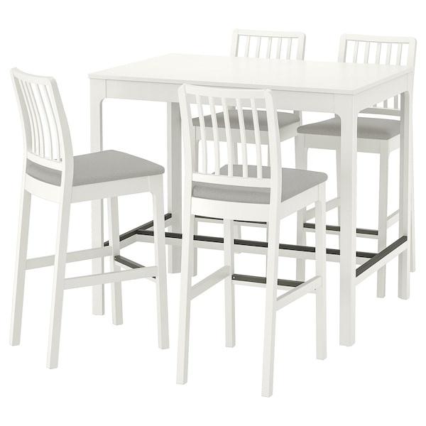 Bar table and 4 bar stools EKEDALEN / EKEDALEN white, Orrsta light gray