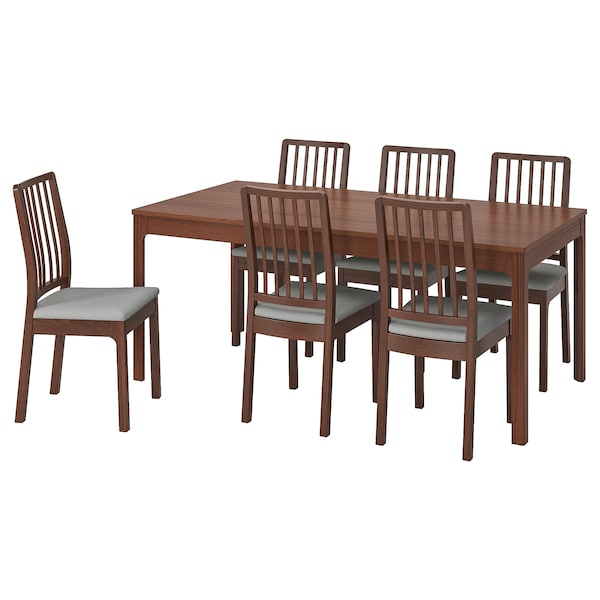 """EKEDALEN / EKEDALEN table and 6 chairs brown/Orrsta light gray 70 7/8 """" 94 1/2 """""""