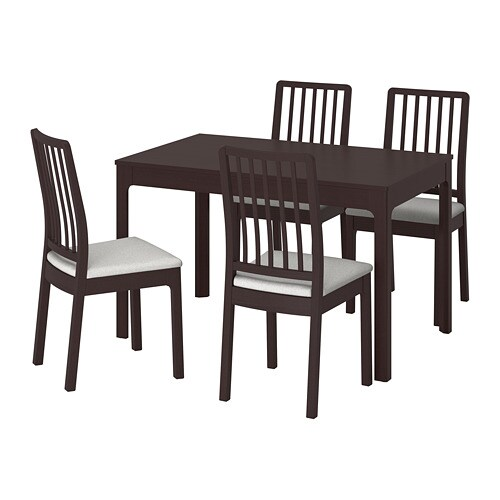 EKEDALEN / EKEDALEN Table and 4 chairs, dark brown, Orrsta light gray