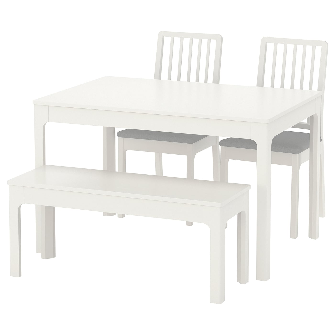EKEDALEN / EKEDALEN   Table With 2 Chairs And Bench, White, Orrsta Light  Gray