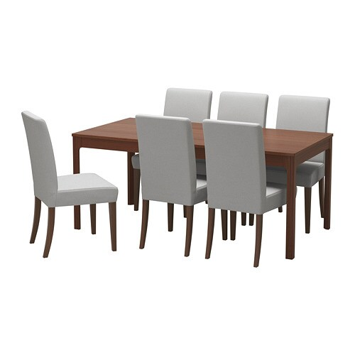 EKEDALEN / HENRIKSDAL Table and 6 chairs, brown, Orrsta light gray