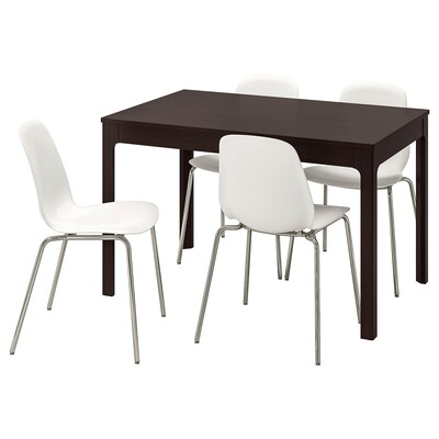 "EKEDALEN / LEIFARNE table and 4 chairs dark brown/white 47 1/4 "" 70 7/8 """