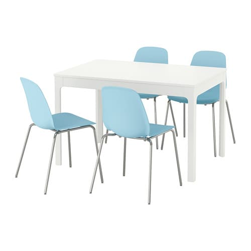 EKEDALEN / LEIFARNE Table and 4 chairs, white, light blue
