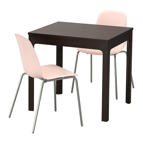 EKEDALEN / LEIFARNE Table and 2 chairs, dark brown, pink