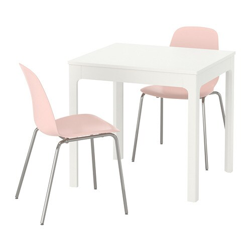 EKEDALEN / LEIFARNE Table and 2 chairs, white, pink