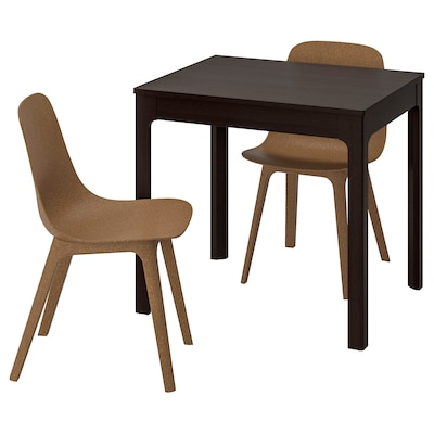 "EKEDALEN / ODGER table and 2 chairs dark brown/brown 31 1/2 "" 47 1/4 """