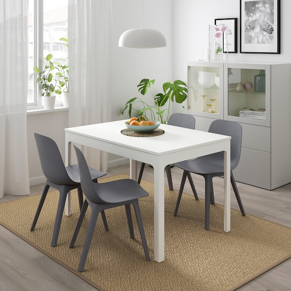 """EKEDALEN / ODGER table and 4 chairs white/blue 47 1/4 """" 70 7/8 """""""