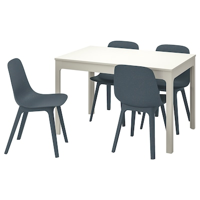 "EKEDALEN / ODGER table and 4 chairs white/blue 47 1/4 "" 70 7/8 """