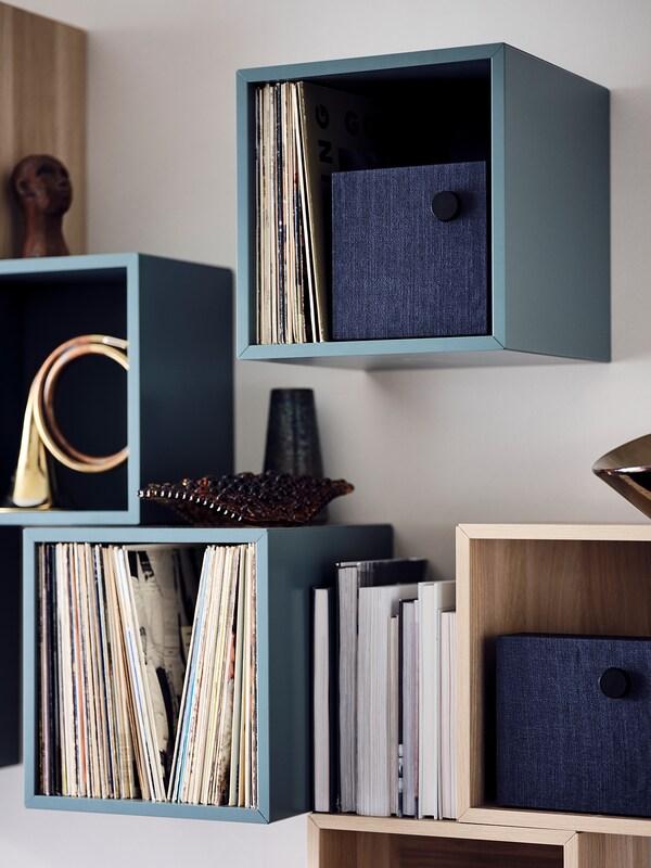 "EKET Cabinet, gray-turquoise, 13 3/4x9 7/8x13 3/4 """