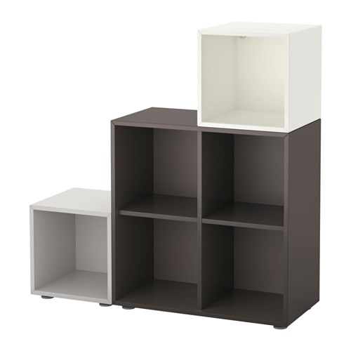 EKET Storage combination with feet, white/dark gray, light gray white/dark gray/light gray