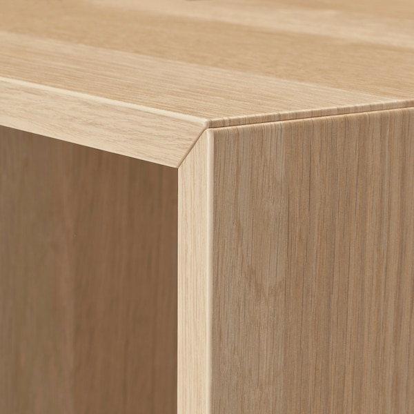 EKET Storage combination with feet, white/white stained oak effect, 13 3/4x13 3/4x42 1/8 ""