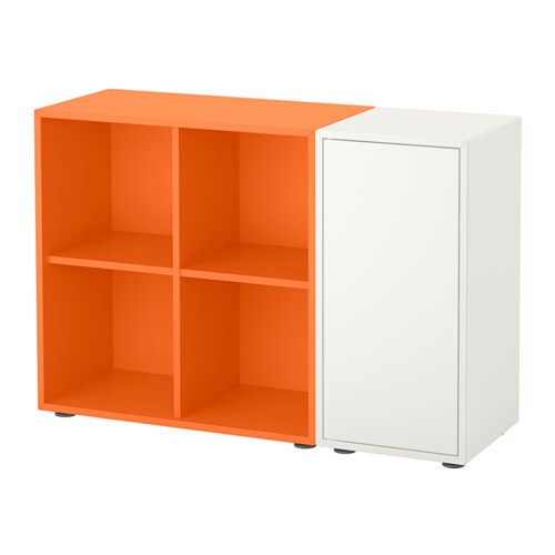 Color combination gray and blue - Eket Storage Combination With Feet White Orange Ikea