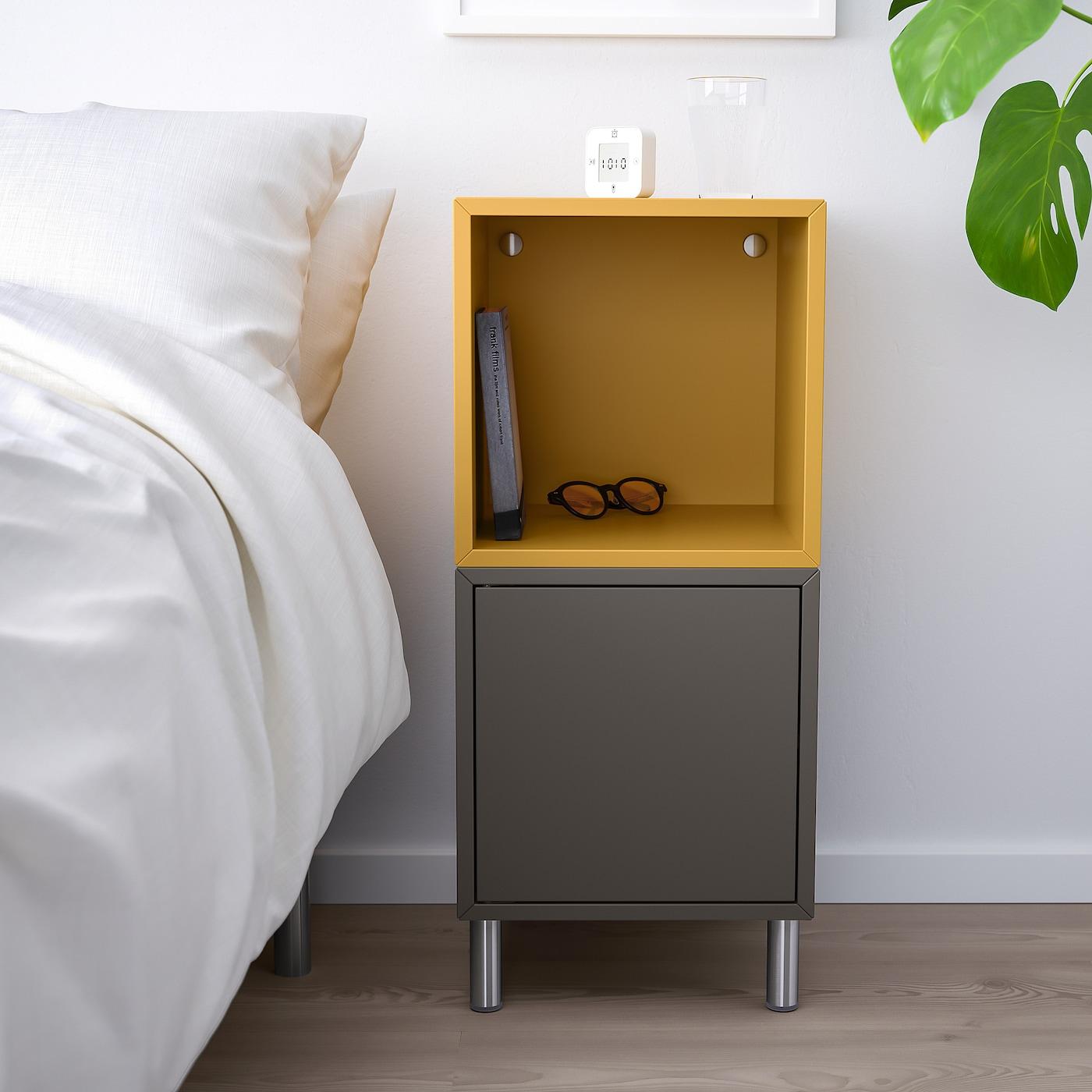 """EKET Storage combination with legs, dark gray/golden brown, 13 3/4x13 3/4x31 1/2 """""""
