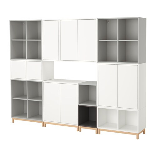 eket storage combination with legs white light gray dark. Black Bedroom Furniture Sets. Home Design Ideas