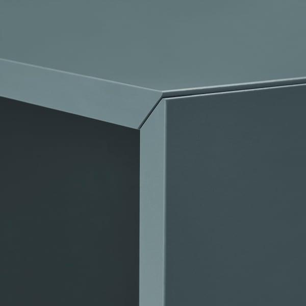 "EKET Storage combination with legs, white gray-turquoise/wood, 13 3/4x13 3/4x31 1/2 """
