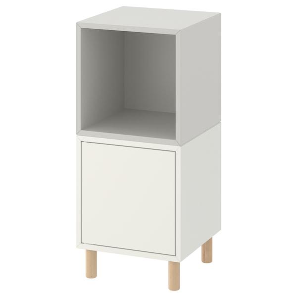 "EKET Storage combination with legs, white light gray/wood, 13 3/4x13 3/4x31 1/2 """