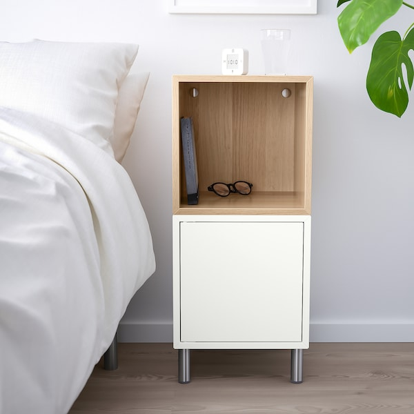 """EKET Storage combination with legs, white/white stained oak effect, 13 3/4x13 3/4x31 1/2 """""""