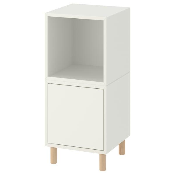 "EKET Storage combination with legs, white/wood, 13 3/4x13 3/4x31 1/2 """