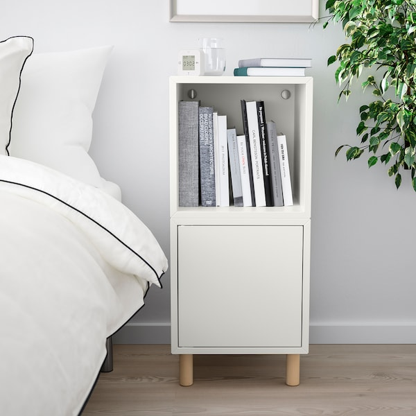 EKET Storage combination with legs, white/wood, 13 3/4x13 3/4x31 1/2 ""